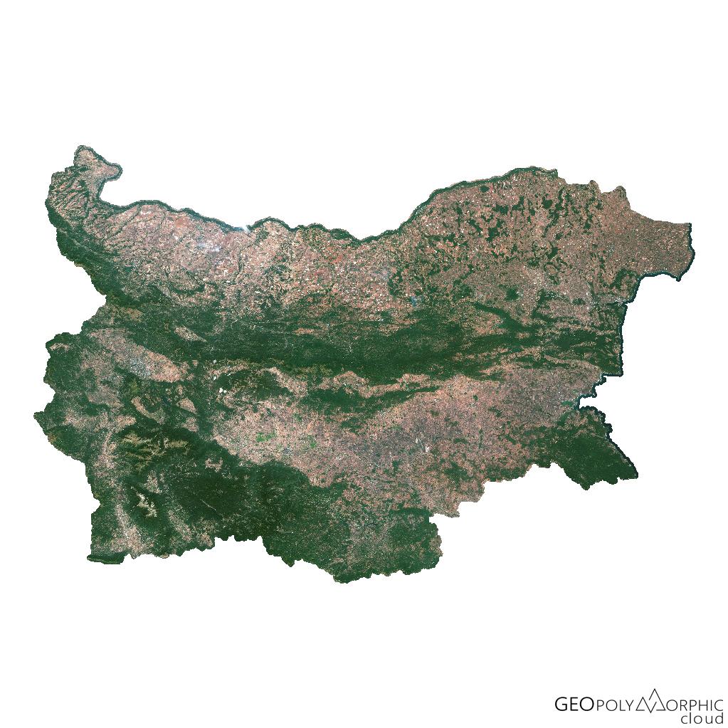 Спътникова карта на България от Sentinel-2